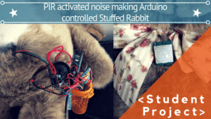 PIR ACTIVATED NOISE MAKING ARDUINO CONTROLLED STUFFED RABBIT